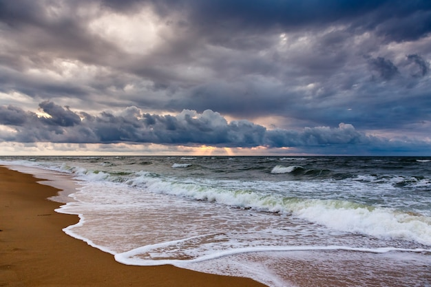 Dramatic sky on a morning seascape.