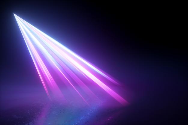극적인 무대 조명. 바닥에 보라색 광선 빔 빛. 격리 된 스포트라이트.
