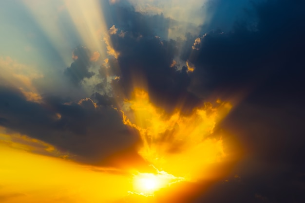 Dramatic sunset rays through cloudscape background hd