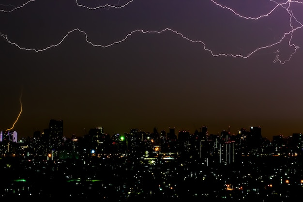 Dramatic thunderstorm lightning bolt over the cityscape at night