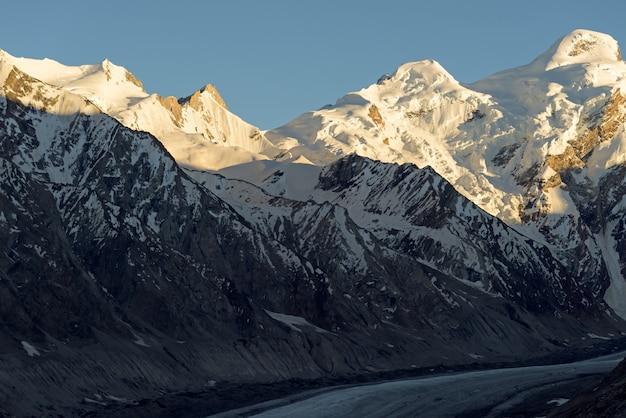 Drang-drung氷河の日没、最大標高23キロメートル、平均標高4 780