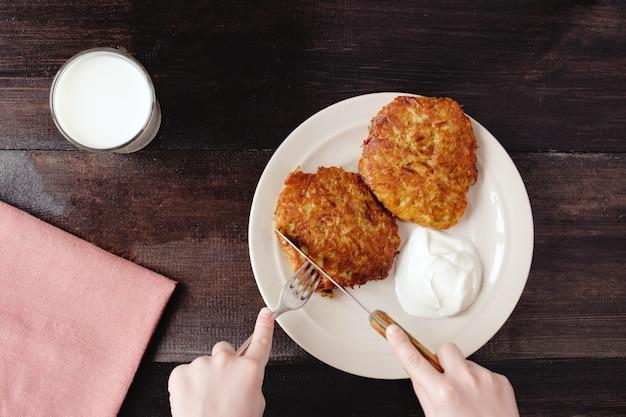 クリームと牛乳のドラニキポテトパンケーキ
