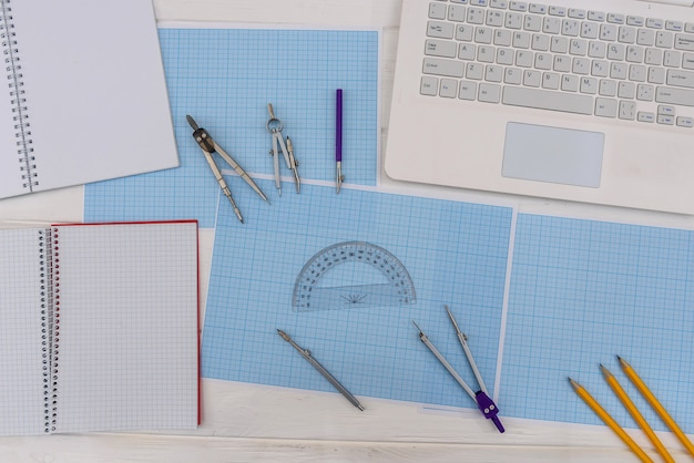 Draughtsmanship tools on the table top view