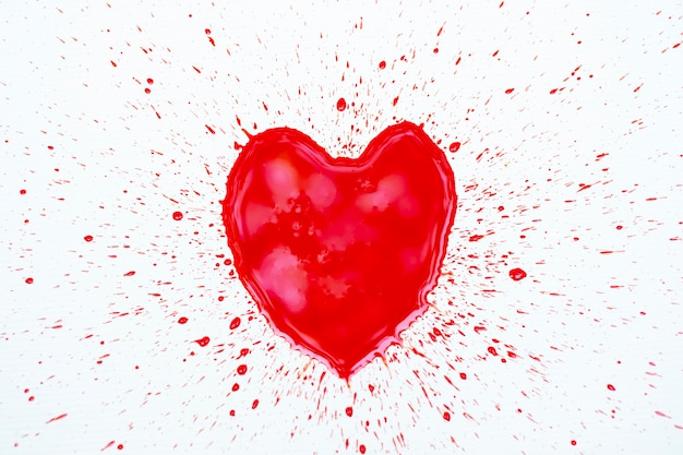 Draw a shape heart by bloody on white background