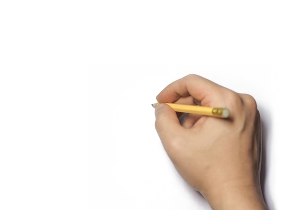 Draw with pencil in hand isolated on white