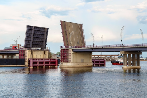 Drawbridge over a river in action