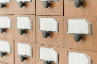 Drawers of library catalog