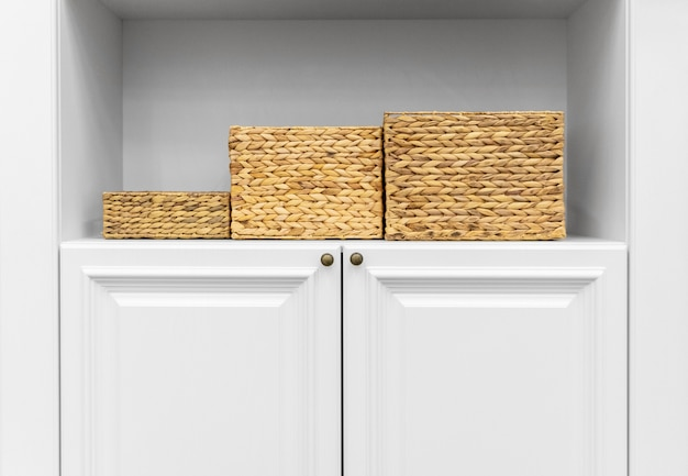 Drawers on white cabinet