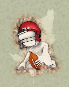 Drawing of an american footbal player