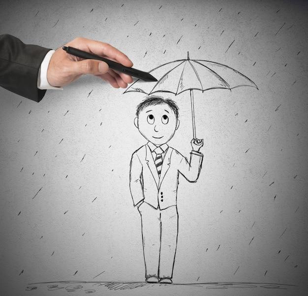 사람을 돕기 위해 우산 그리기