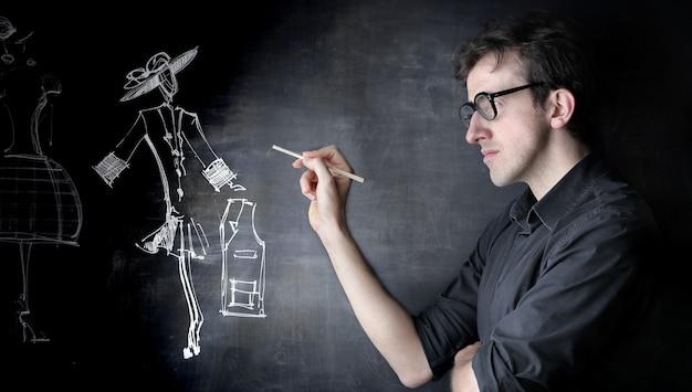 Drawing on a blackboard