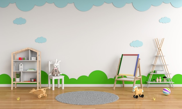 Drawing board and chair in child room interior for mockup