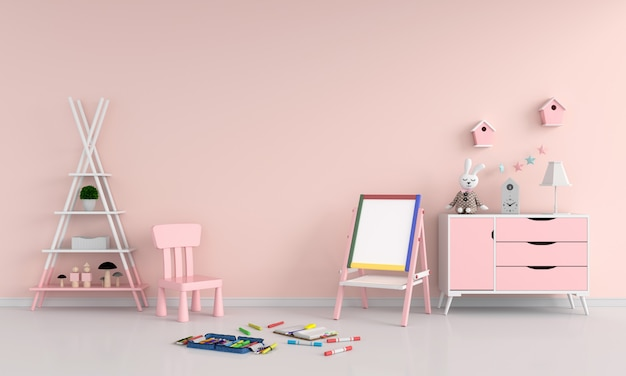 Drawing board and chair in child room