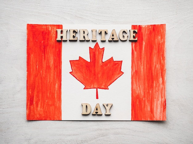 Drawing of the canadian flag and wooden letters