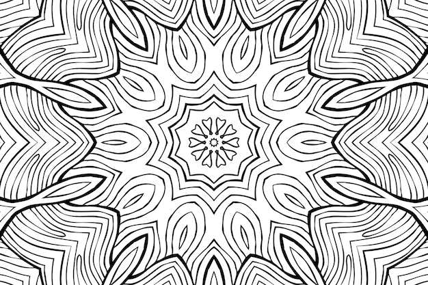 ぬりえページのアンチストレス、黒と白の対称的な花の描画を描画します。モノクロの花の背景。花と手描きの飾り、リラックスした塗り絵。カール曼荼羅瞑想図
