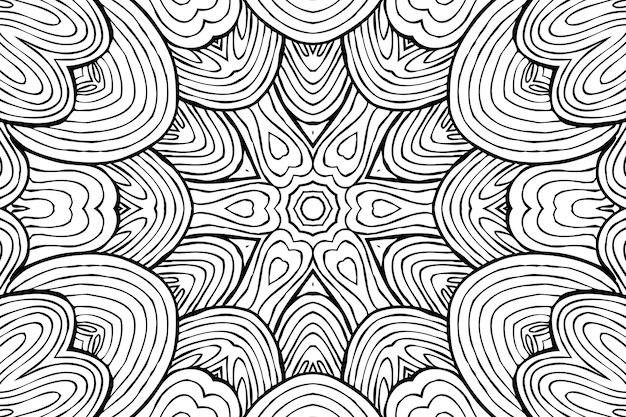 Drawing coloring page antistress, black and white symmetrical flower drawing. monochrome floral background. hand drawn ornament with flowers, relaxing coloring book. curls mandala meditative drawing