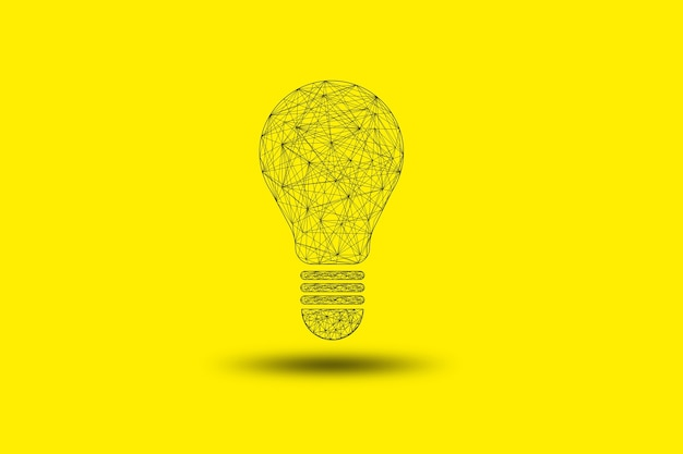 Drawing connection for lightbulb or lamp on yellow background , creative thinking idea and innovation concept