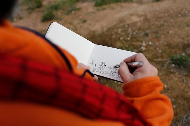 Drawing draf sketch watercolor blank notepad