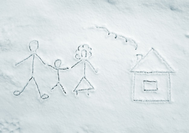 Drawing of family with house on snow