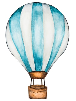 Drawing of a flying air balloon. beautiful card