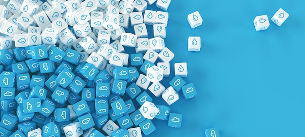 Drawing from many scattered cubes with icons of clouds on a blue background