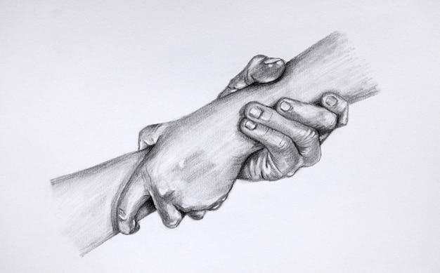 救いの手を差し伸べる絵。お互いを保持している2つの手のスケッチ。