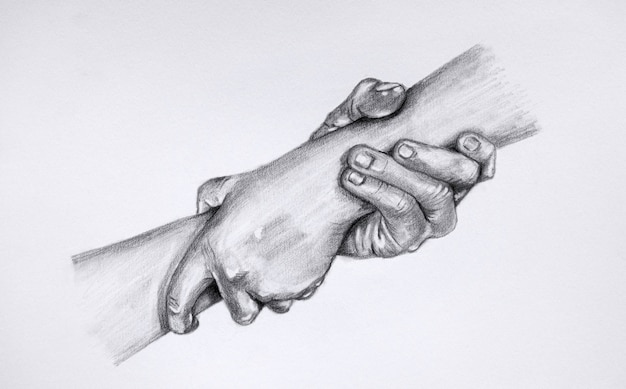 Drawing giving a helping hand. sketch of two hands holding each other.