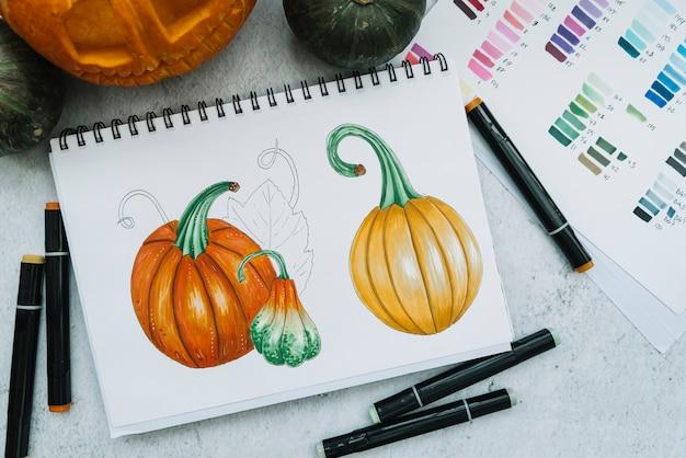 Рисование тыквы хэллоуина с помощью фломастера