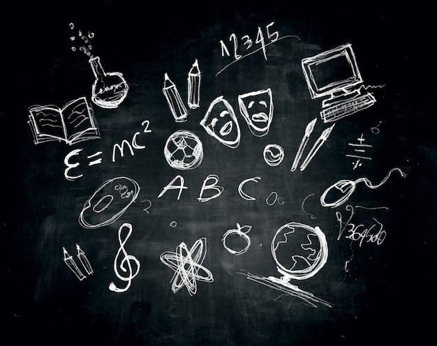 Drawing and illustrations on a blackboard