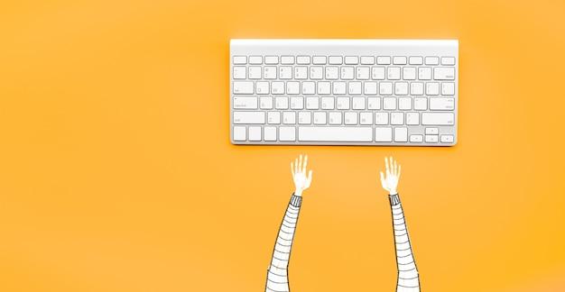 コンピューターのキーボードで入力する男を描く