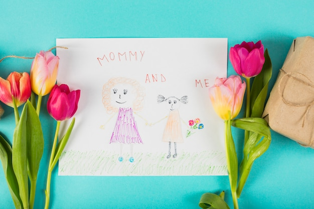 Drawing for mother`s day with tulips