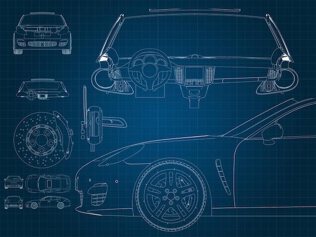 파란색 밀리미터 기판에 자동차 및 부품 그리기