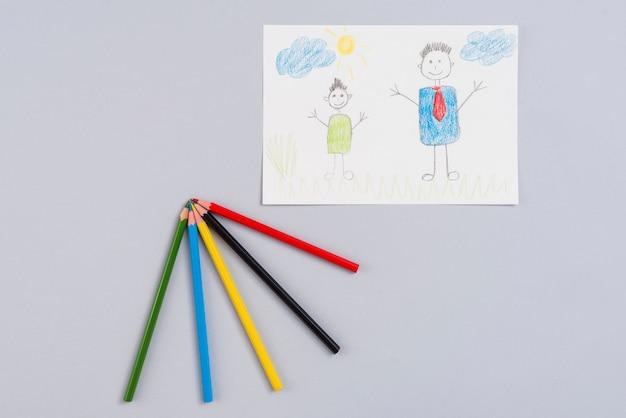 Рисунок отца и сына на бумаге