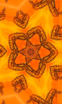 Drawing pattern on orange background orange polygonal kaleidoscope pattern, which consist of triangles. geometric background in origami style with gradient. design for your business. vertical image.
