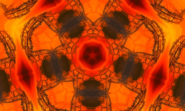 Drawing pattern on orange background orange polygonal kaleidoscope pattern, which consist of triangles. geometric background in origami style with gradient. design for your business.