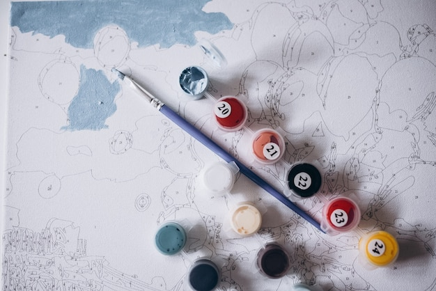 Drawing a picture by numbers with paints coloring