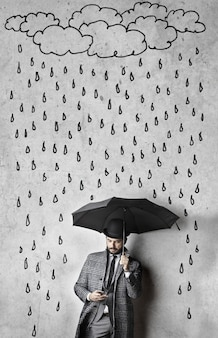 Drawing of rain above an elegant man