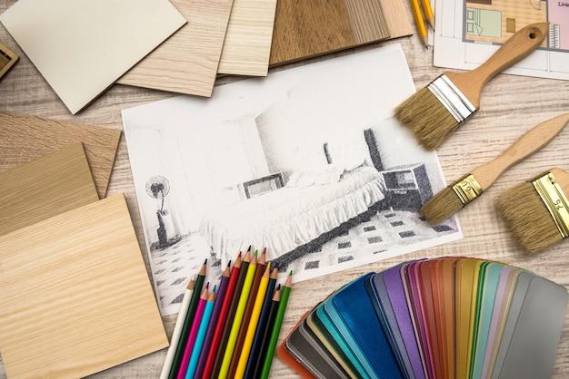 Рисование эскизов, планы чертежей с помощью цветовой палитры.