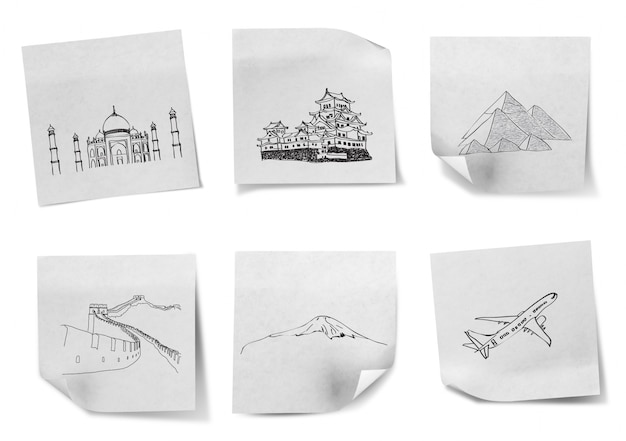 Drawing travel around the world on white note papers  (japan,ind