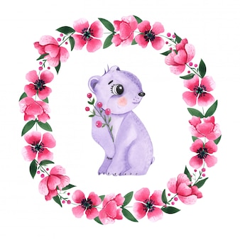 Drawing watercolor animal bear among the floral round frame
