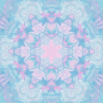 Drawing with watercolors, abstract images for the background. design element, pastel pink and blue colors. geometric flowers, kaleidoscope blur