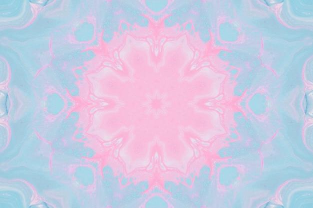 수채화, 배경에 대한 추상 이미지 그리기. 디자인 요소, 파스텔 핑크와 블루 색상. 기하학적 꽃, 만화경 흐림