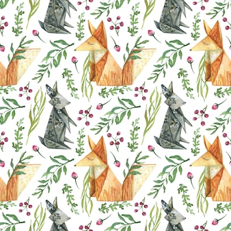 Drawn background from elements of berries flowers herbs origami animals orange fox gray hare