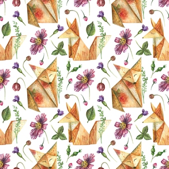Drawn background from elements of bright flowers herbs origami animals orange fox