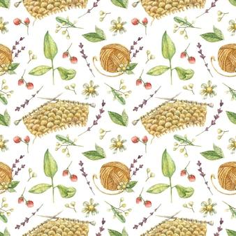 針編みの要素から描かれた背景糸編み針のオレンジ色のボール糸花ハーブ