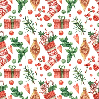 Drawn background with red knitted christmas sock