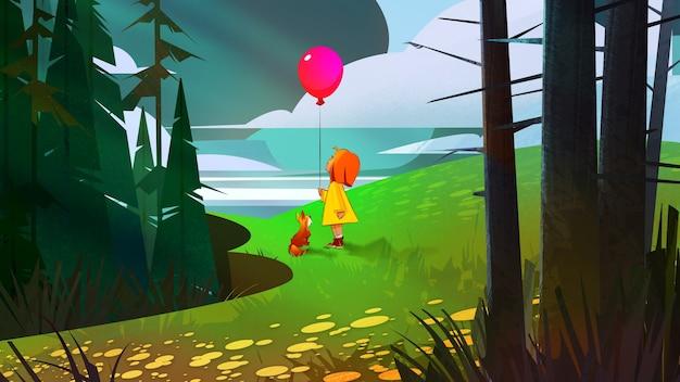 Нарисованный мультфильм лесной пейзаж с девушкой на воздушном шаре и собакой