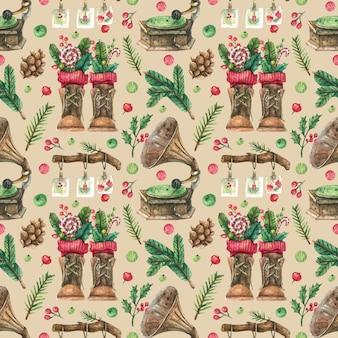 Нарисованный новогодний фон с винтажным декором из проигрывателя и коричневых сапог