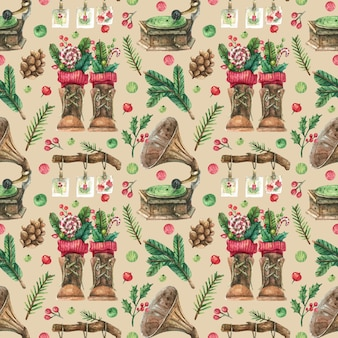 Drawn christmas background with vintage decor from turntable and brown boots