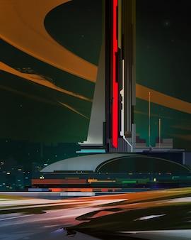 Нарисованный город будущего. фантастический пейзаж в стиле киберпанк